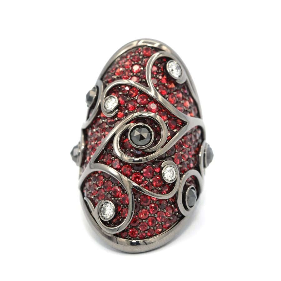 18 Karat Gold Palmieroi Intricate Ruby And Diamond Ring Upper Luxury